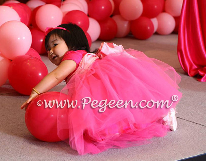 Hot Pink Custom Flower Girl Dress with tulle for a 1st birthday
