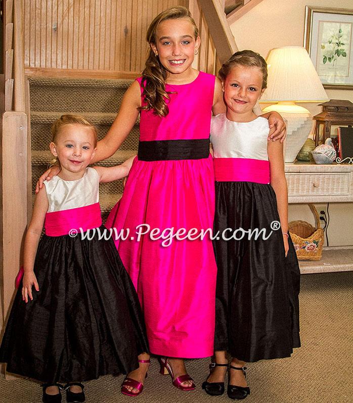 BOING (FUSCHIA), WHITE AND BLACK flower girl dresses