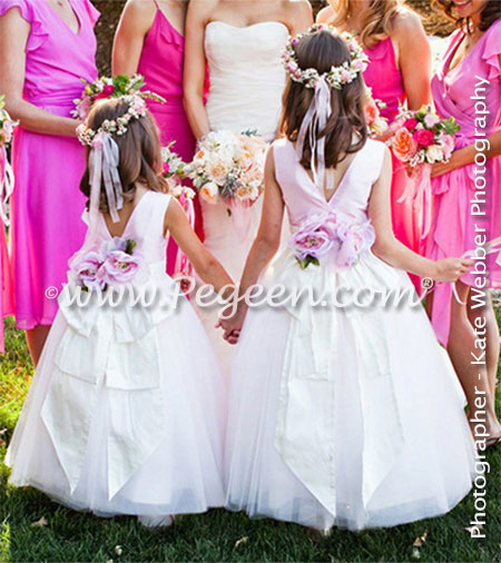 Flower girl dresses 402 in antique white and peony pink tulle and silk