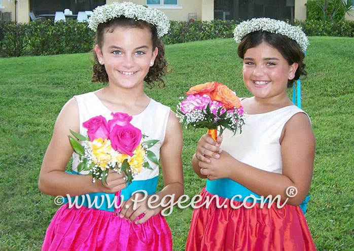 Flower Girl Dresses in bisque, luscious pink and oceanic (turquoise) silk custom style 398