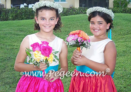 Flower Girl Dresses - Pegeen Classic Style 398 in hot pink and orange