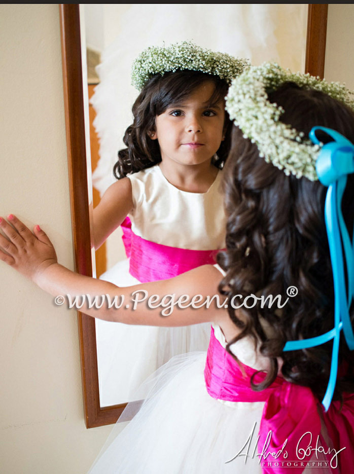 Tropical themed flower girl dresses