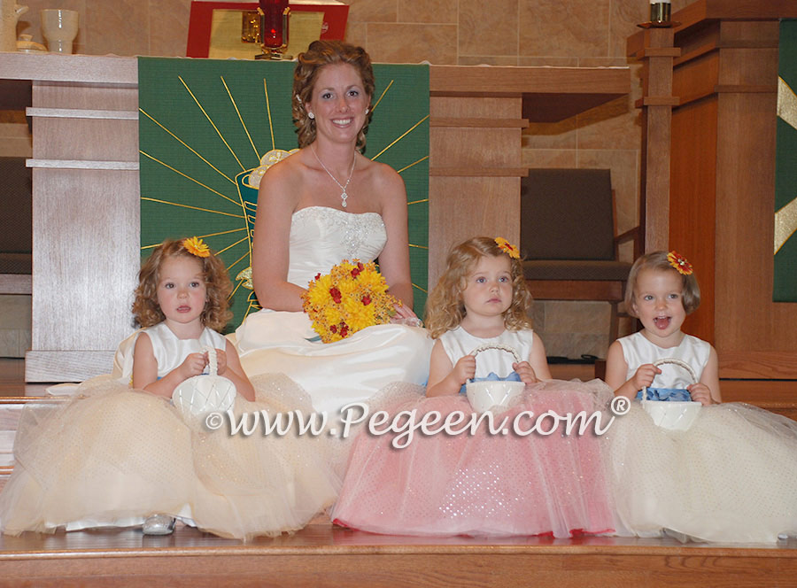 Glitter Tulle Flower Girl Dresses - Pegeen Couture Style 402 with layers and layers of tulle