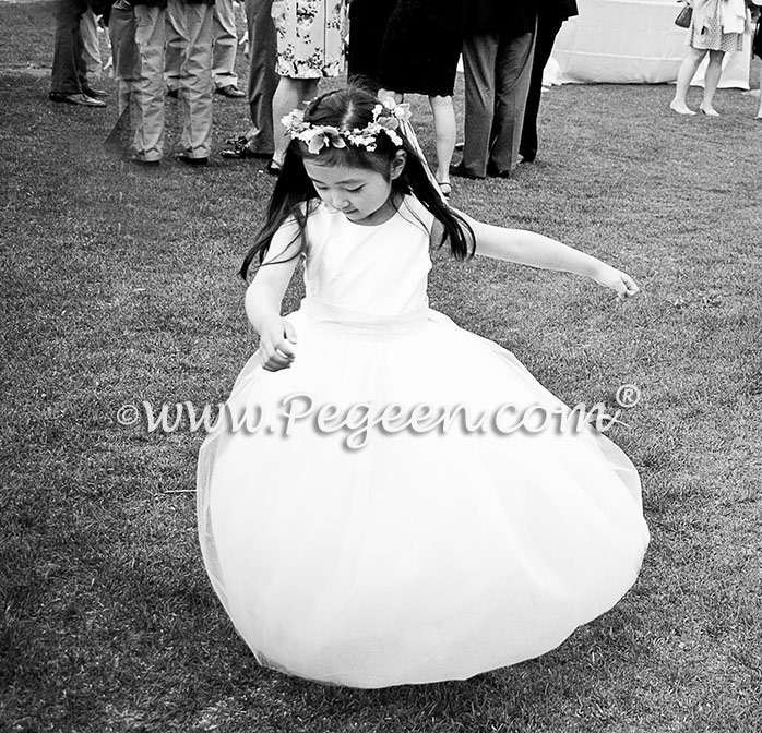 Couture silk tulle flower girl dress captured in black and white photography