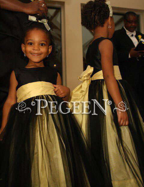 Flower Girl Dress Shown in black and gold silk with black tulle