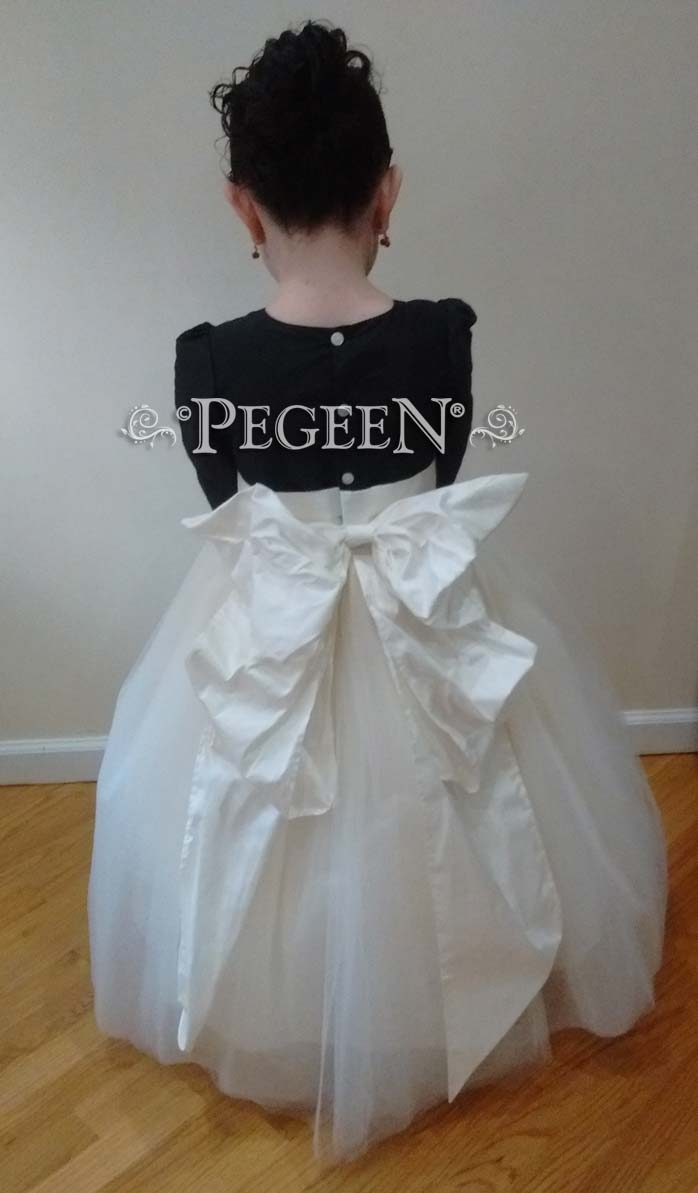 Black and ivory silk and tulle flower girl dress with Cinderella Bow
