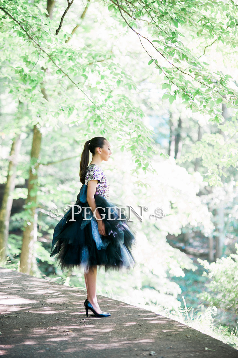 Black, Silver and Sequins Handkerchief Tulle Skirt Style 934 | Pegeen