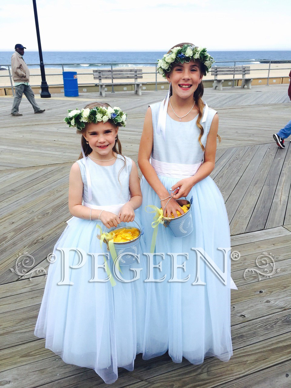 Cloud blue and white flower girl dresses with layers of tulle pegeen cloud blue and white flower girl dresses with layers and layers of tulle style 402 izmirmasajfo