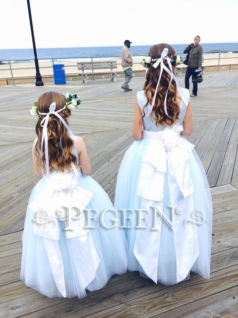 FLOWER GIRL DRESSES in Ice Blue and blue tulle with Cinderella Sash