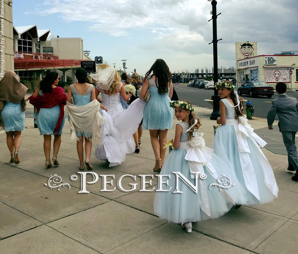 Steele Blue and Antique White Tulle Flower Girl Dress from the Pegeen Couture Collection Style 402 also in ballet pink and new ivory