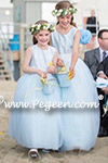 Blue and White Tulle Silk Flower Girl Dresses