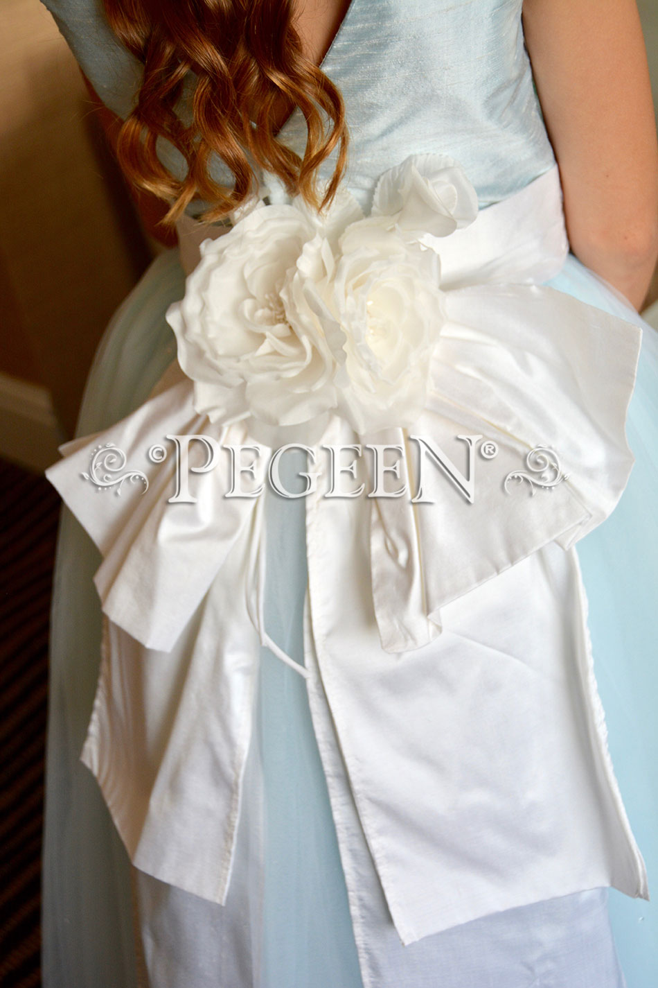 Antique White and Blue Ice Custom Silk Flower girl dress Style 402
