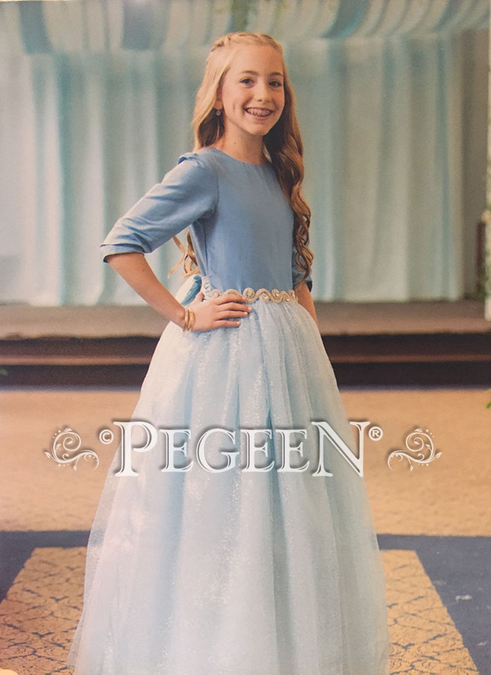 Blue Moon and Cinderella Blue Flower Girl Dress in tulle and silk with rhinestone belt | Pegeen