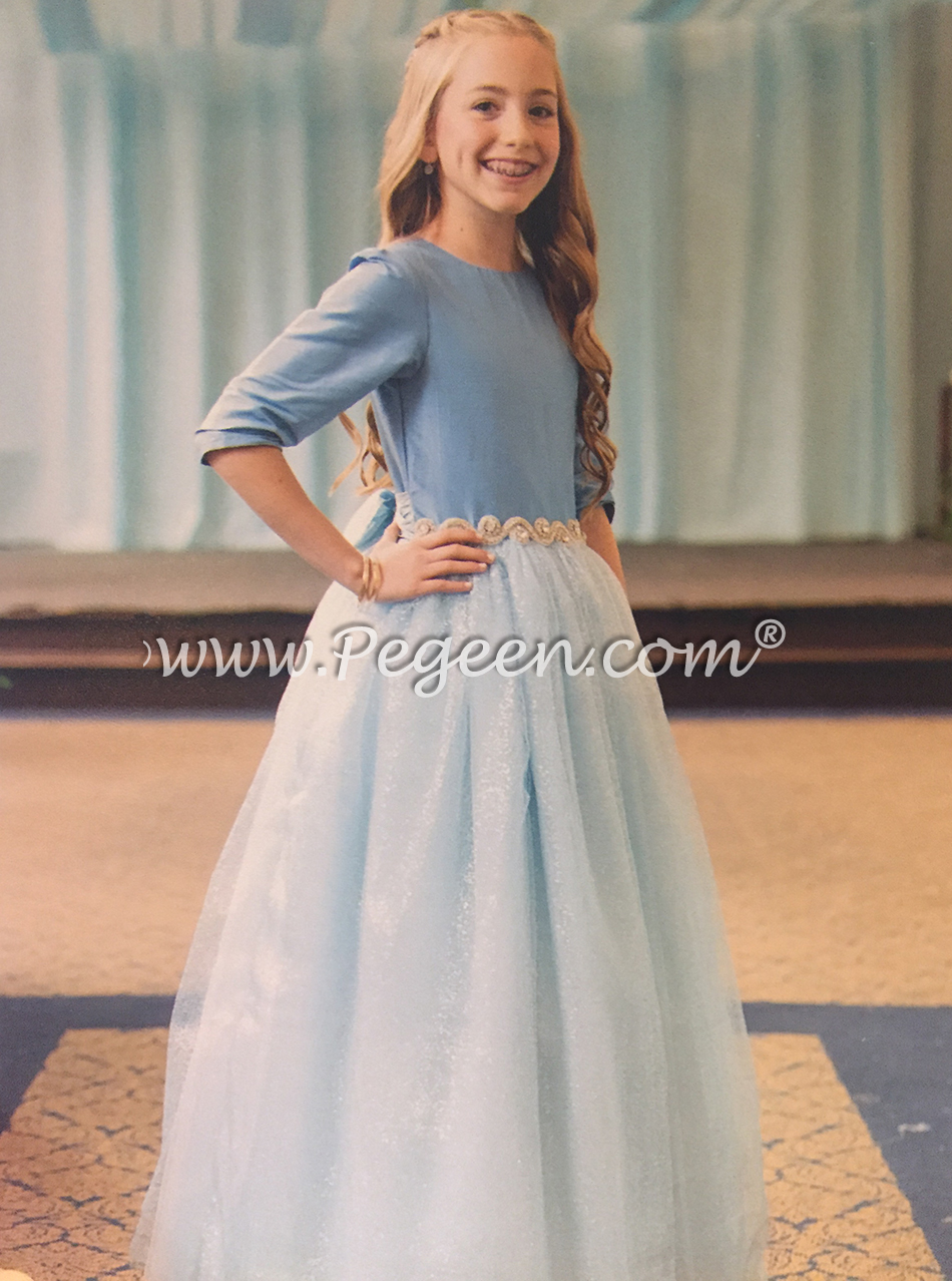 Flower girl dress with 3/4 sleeves with rhninestone trim for Jewish Wedding