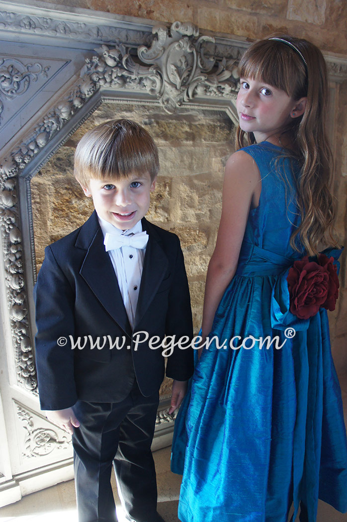 Malibu blue custom silk flower girl dress Style 318
