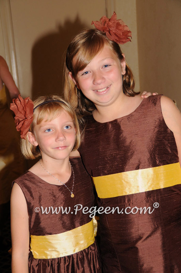 Brown and saffron jr bridesmaids and matching flower girl dress