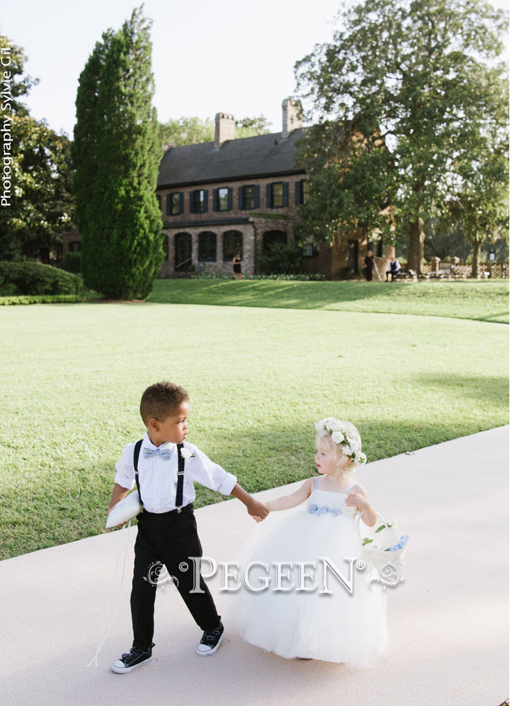 Ivory Embroidered Silk Flower Girl Dresses with fluffy tulle Celebrity Weddings