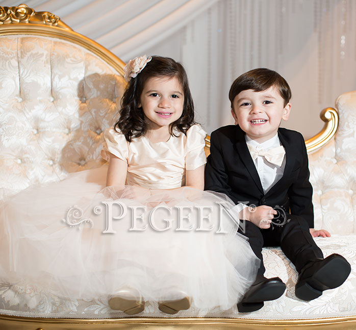 Champagne Pink Silk and Tulle Silk Flower Girl Dresses with modest sleeves | Pegeen