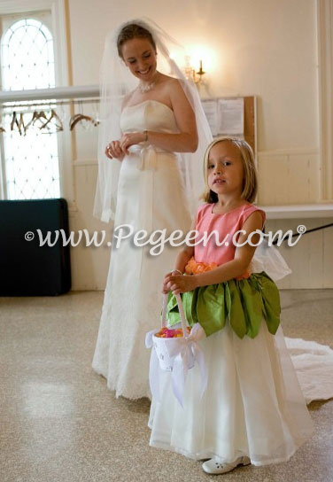 Coral and Sprite Green custom silk flower girl dresses