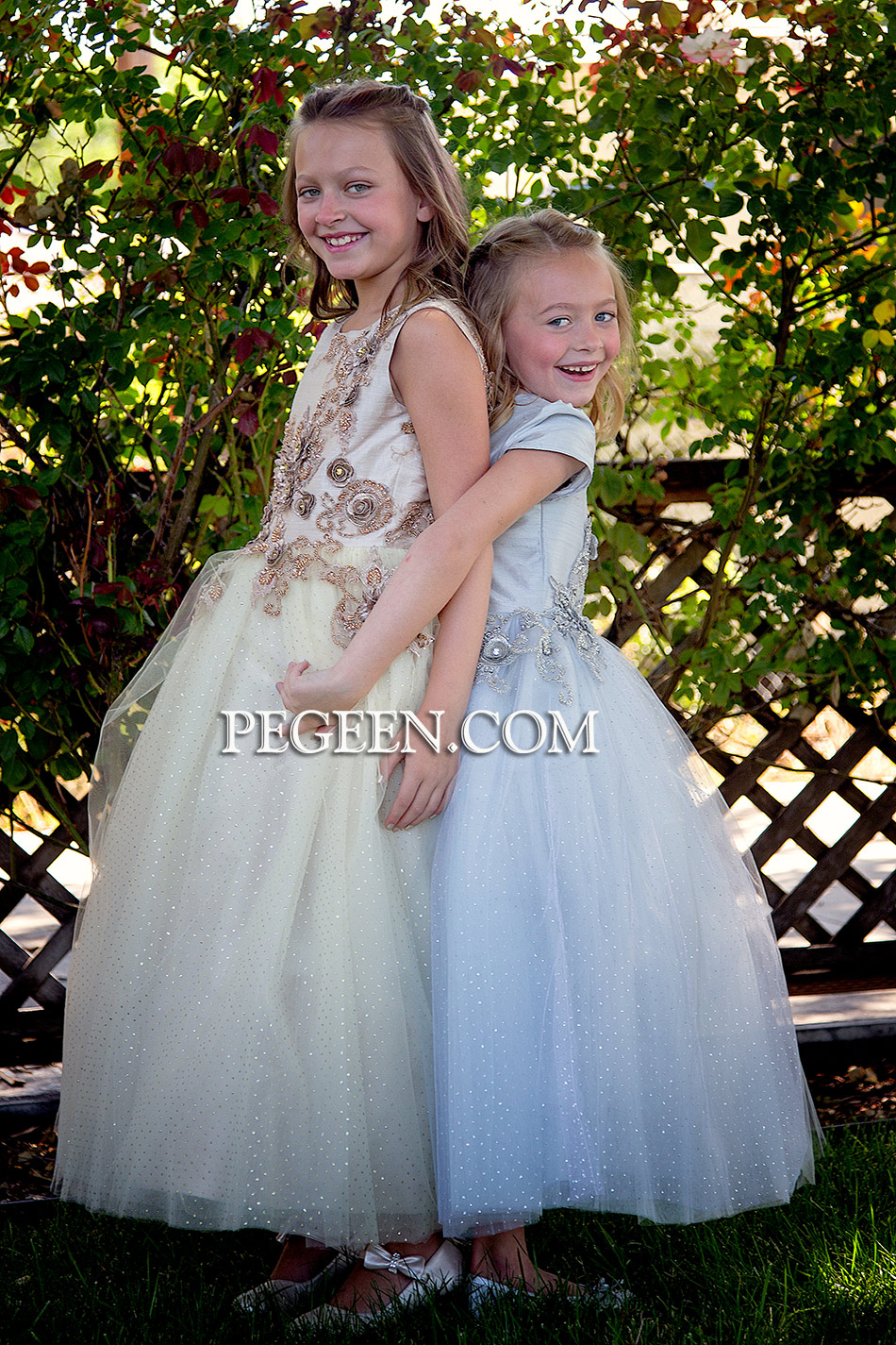 Gold and Silver Embroidered Custom Silk Flower Girl Dress | Pegeen Style 922