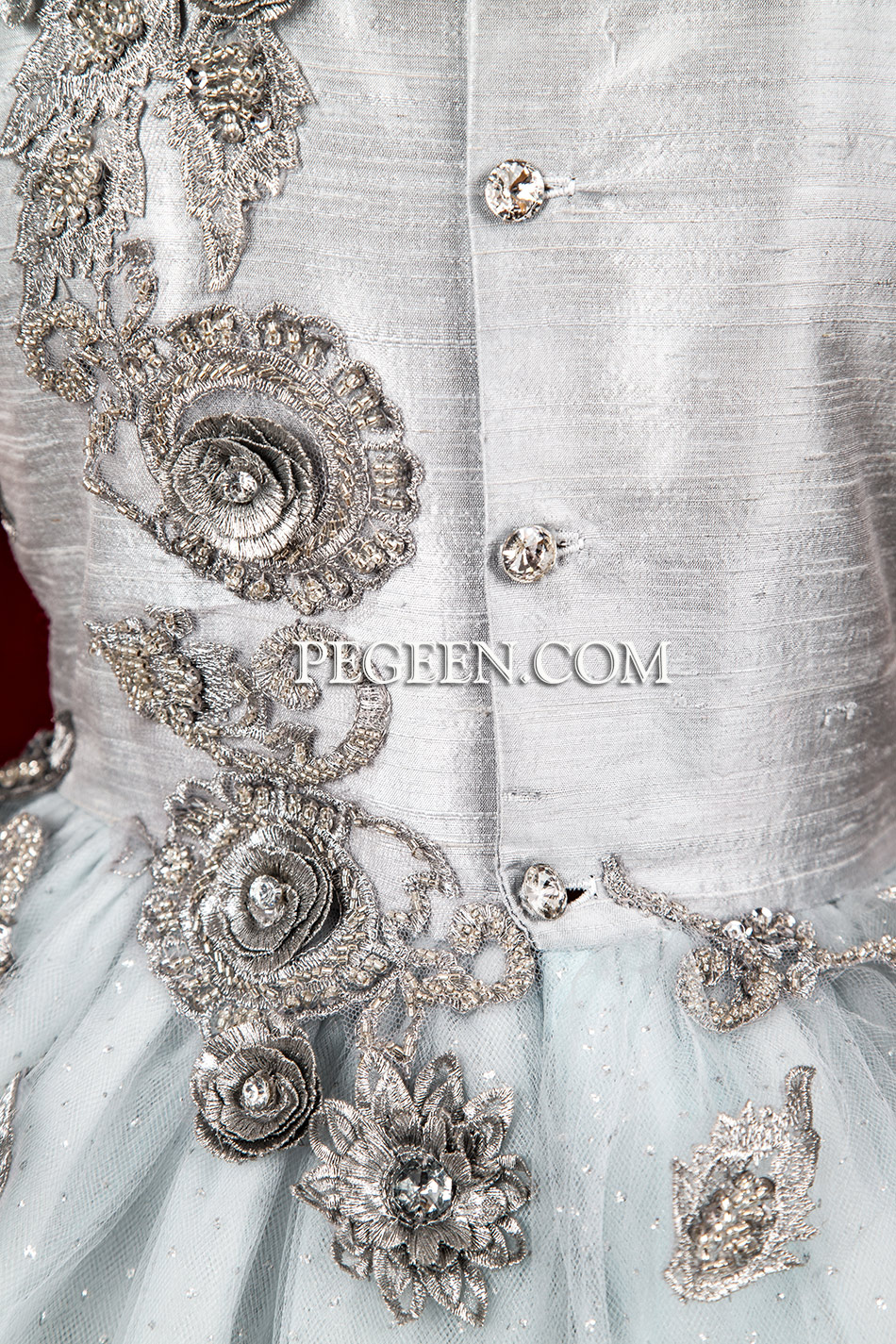 Platinum and Silver 3-Dimensional Embroidered Silk flower girl dresses