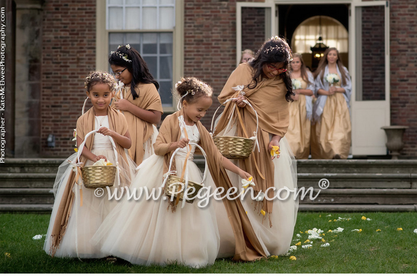 Silk Flower Girl Dresses of the Month for June-July 2016 in Spun Gold Silk and Tulle - Pegeen Couture Style 402 and Jr Bridesmaids Style 306