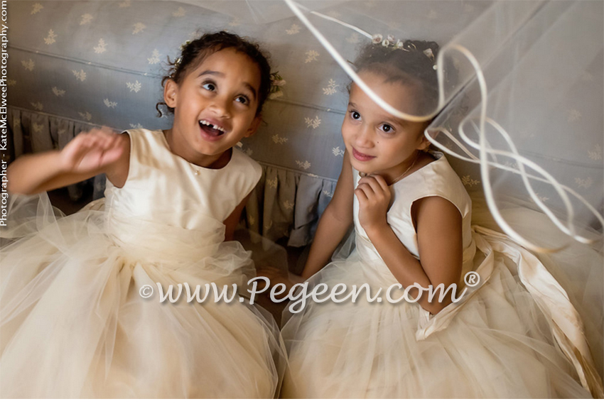 Flower Girl Dress in Spun Gold Silk and Tulle - Style 402 and Jr Bridesmaids Style 306