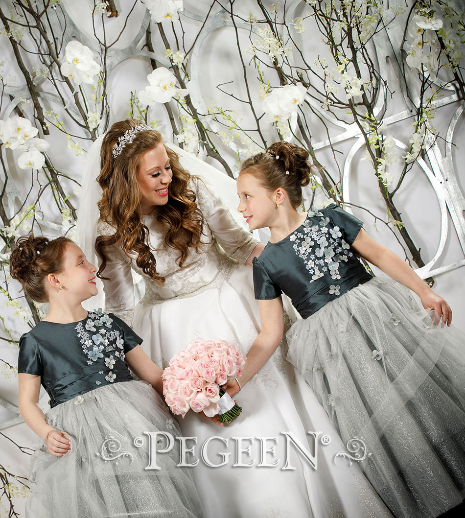 Silver gray silk and tulle flower girl dress with flower trim src=