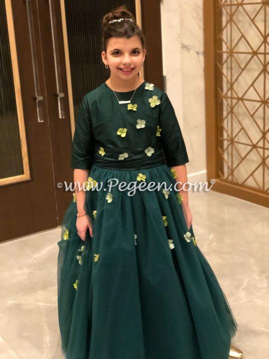 3/4 Sleeve Forest Green Jr Bridesmaids Dress