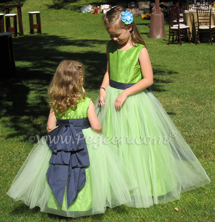 Apple green and Navy Blue Silk flower girl dresses Style 394