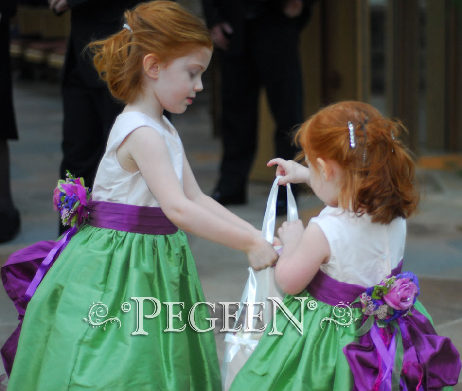 Flower Girl Dresses in purple and green
