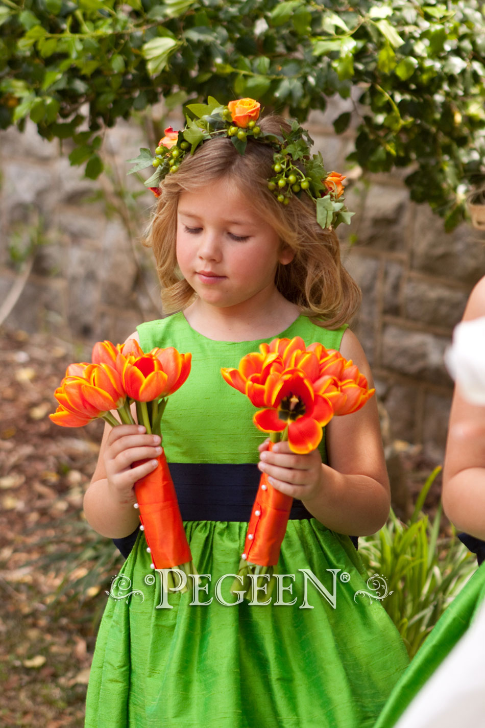 Keylime green silk flower girl dress