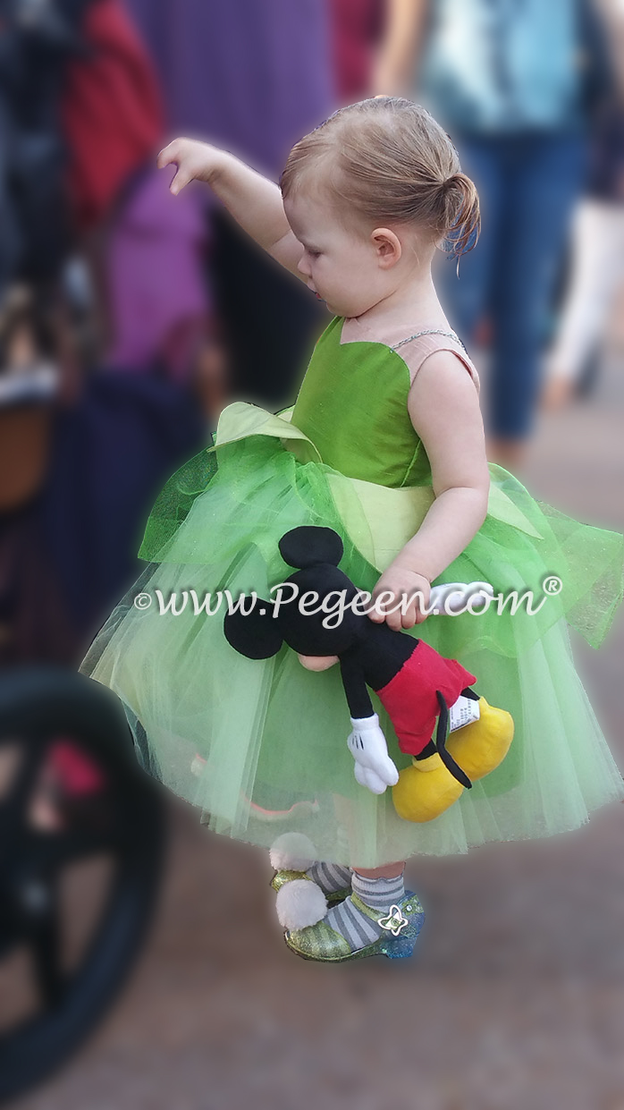 Here is a little toddler girl in her Tinker Bell Flower Girl Dress
