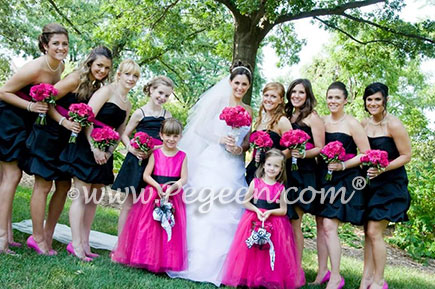 Silk Flower Girl Dresses in Raspberry Pink Silk and Tulle with a Black Sash