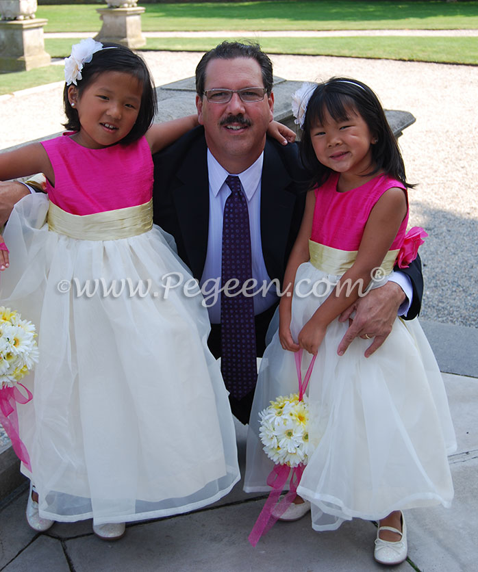 Hot pink, sunflower yellow and white flower girl dresses