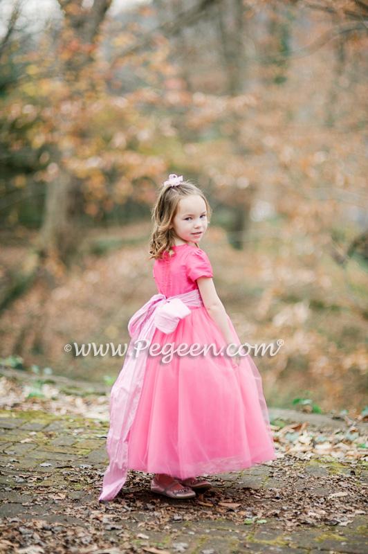 402 Shock Tickle Pink Tulle Flower Girl Dress