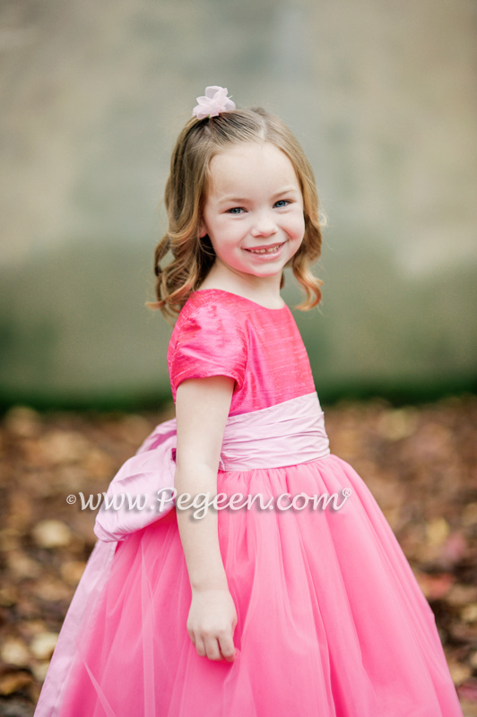402 Shock Tickle Pink Tulle Flower Girl Dress