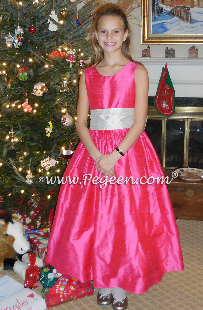 Platinum gray and shock pink silk flower girl dress Classic Style 388