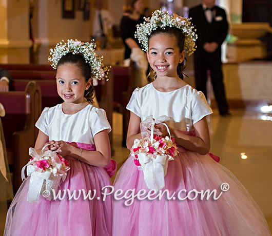FLOWER GIRL DRESSES in New Ivory and Rose Pink - Pegeen Couture Style 402