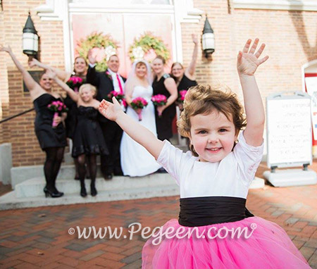 FLOWER GIRL DRESSES in Antique White, Black and Shock Pink - Pegeen Couture Style 402