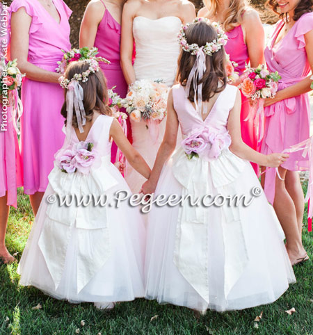 FLOWER GIRL DRESSES in Antique White and Petal Pink - Pegeen Couture Style 402