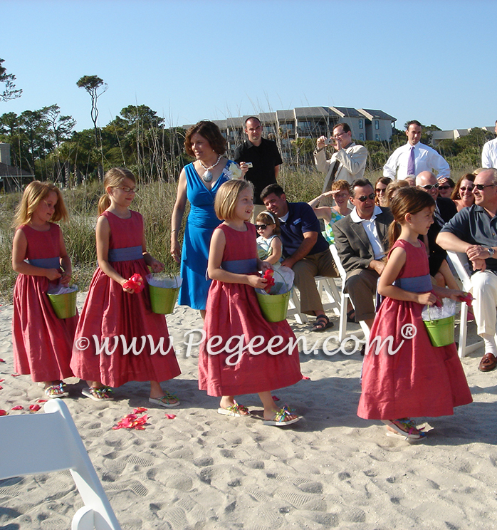 Beach Wedding in lipstick pink and hydrangea blue