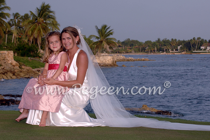 Flower girl dresses Beach Wedding in coral pink and hot pink