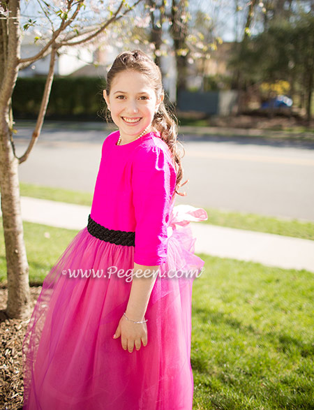 Hot pink Bat Mitzvah dress with black sequin belt