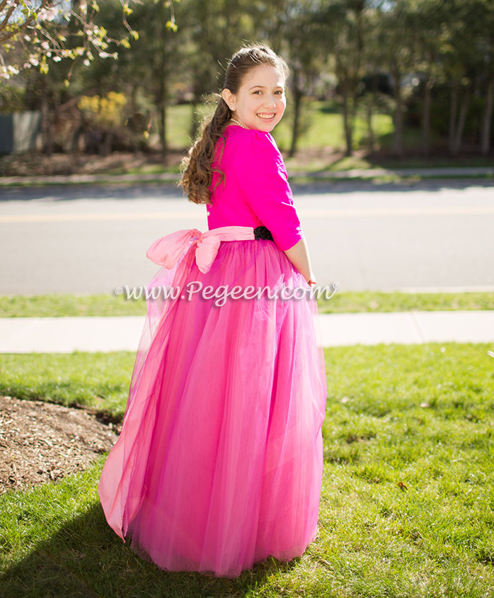 Bat Mitzvah Dress in Hot Pink (Boing) with Sequined Waist Band