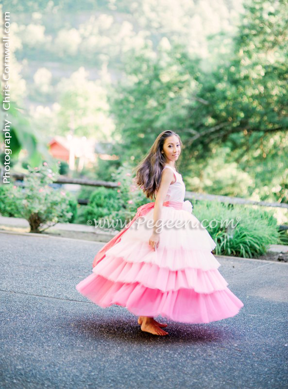 Pink sequins with pink ombre jr bridesmaids or Bat Mitvah dress