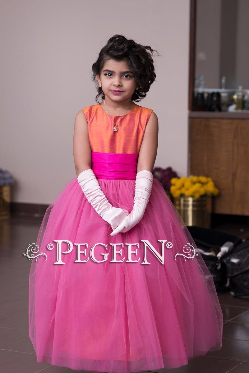 Boing hot pink and Mango Silk and Tulle flower girl dress