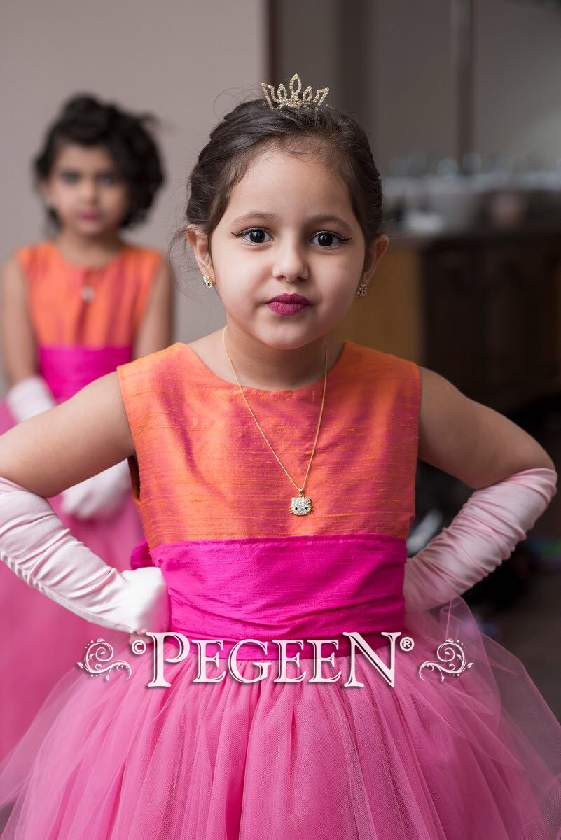 Hot pink and mango orange silk flower girl dress for a family in Saudi arabia