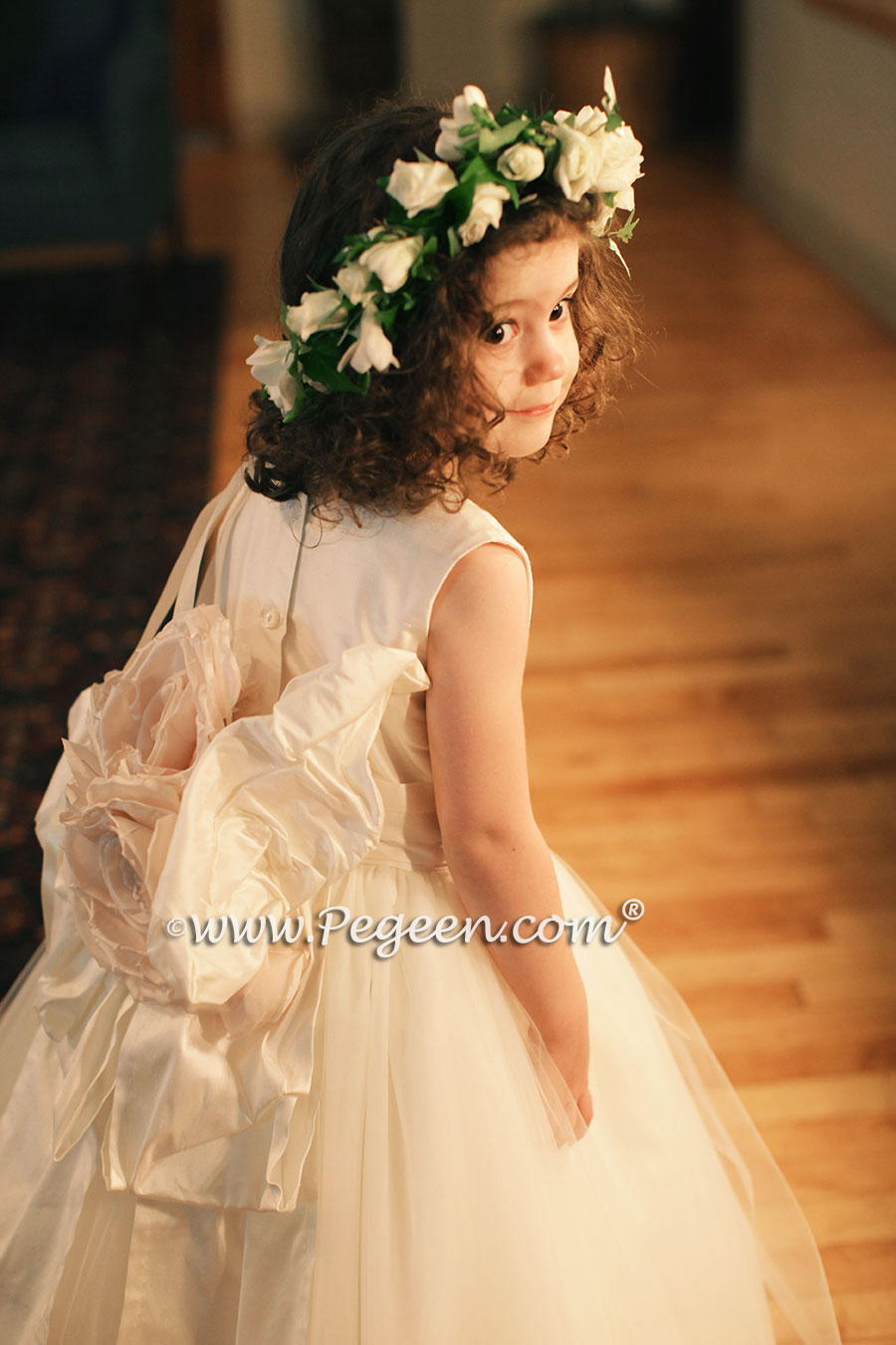 Pegeen Couture Flower Girl Dress Style 402 in New Ivory with Pegeen Signature Bustle