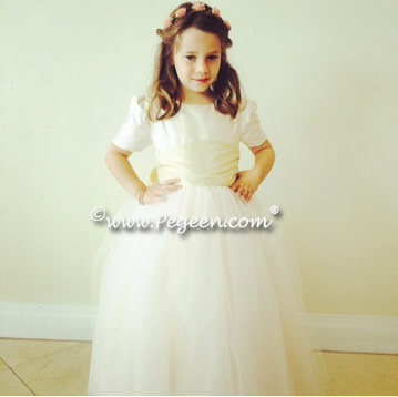 FLOWER GIRL DRESSES in New Ivory and Buttercreme Couture Style 402